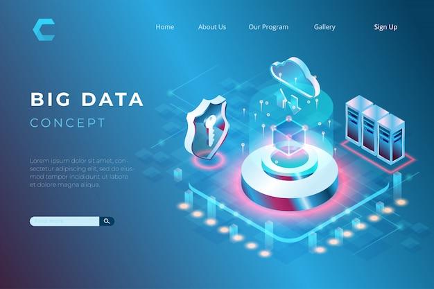 Illustrazione di big data con sicurezza e integrazione con i sistemi di archiviazione cloud in stile isometrico