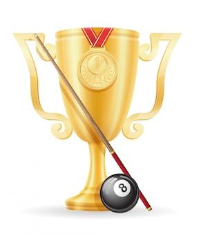 Illustrazione di biliardo d'oro del vincitore della tazza di biliardo da biliardo