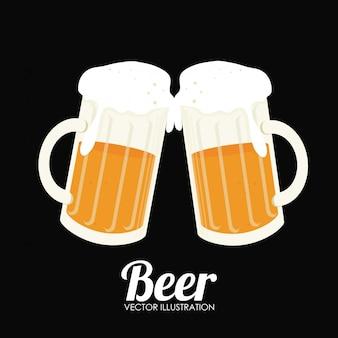 Illustrazione di birra design nero