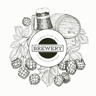 Illustrazione di birra e luppolo