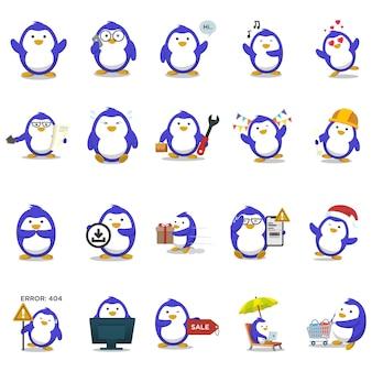 Illustrazione di blue penguin set.