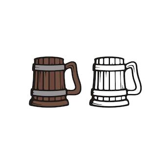 Illustrazione di boccale di birra in legno