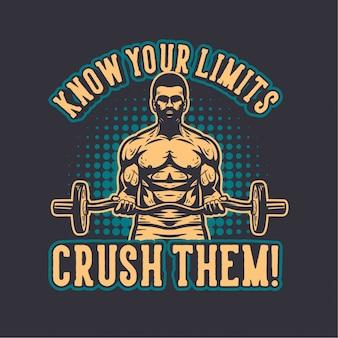Illustrazione di bodybuilding con citazione motivazionale