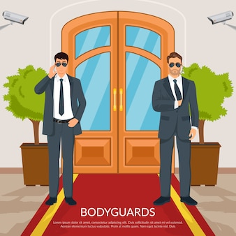 Illustrazione di bodyguard at doors