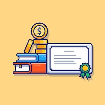 Illustrazione di borsa di studio. certificato, libro e denaro. formazione scolastica