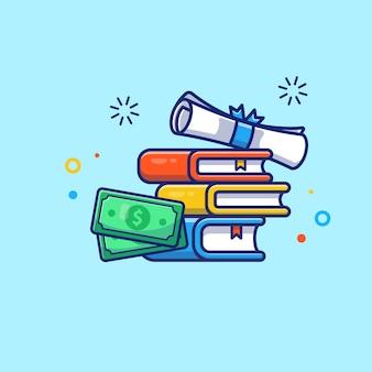 Illustrazione di borsa di studio. diploma, libro e denaro.
