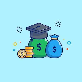 Illustrazione di borsa di studio. protezione di graduazione e borsa dei soldi. isolato