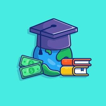Illustrazione di borsa di studio. tappo di laurea, libro e denaro.
