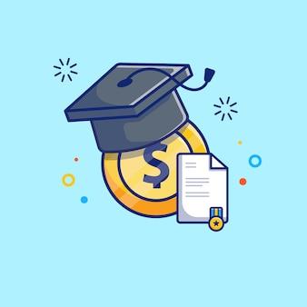 Illustrazione di borsa di studio. tappo di laurea, monete, diploma.