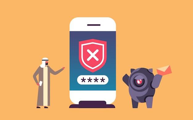 Illustrazione di bot di hacking con persona araba