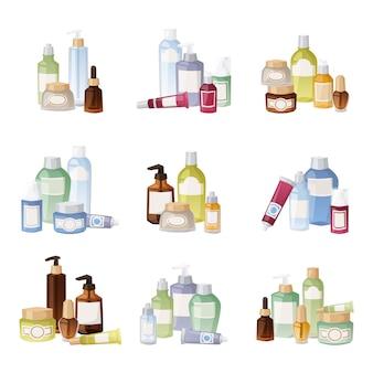 Illustrazione di bottiglie di cosmetici.
