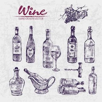 Illustrazione di bottiglie di vino viola disegnato a mano di arte dettagliata linea