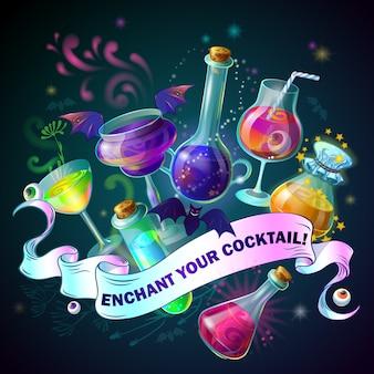 Illustrazione di bottiglie magiche