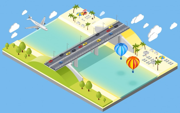 Illustrazione di bridge and beach resort