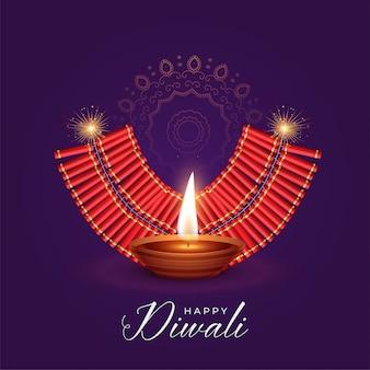 Illustrazione di bruciare diya e cracker per il festival di diwali