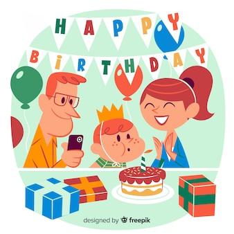 Illustrazione di buon compleanno con genitori e bambino