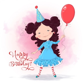 Illustrazione di buon compleanno con una ragazza carina con palloncino. disegno a mano stile cartone animato
