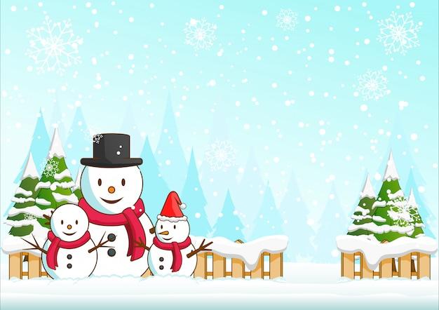Illustrazione di buon natale della famiglia del pupazzo di neve