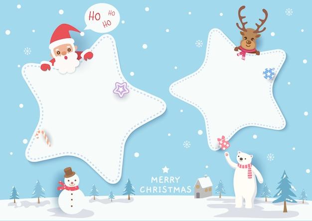 Illustrazione di buon natale design con cornice a stella, santa calus, renne, orso polare, pupazzo di neve su nevoso.