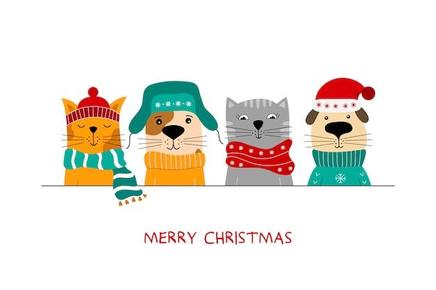 Illustrazione di buon natale di simpatici gatti e cani divertenti.