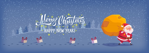 Illustrazione di buon natale felice poster di auguri