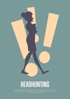 Illustrazione di caccia alla testa con modello di testo con silhouette di donna