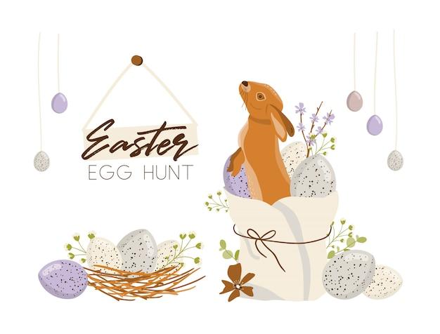 Illustrazione di caccia alle uova di pasqua