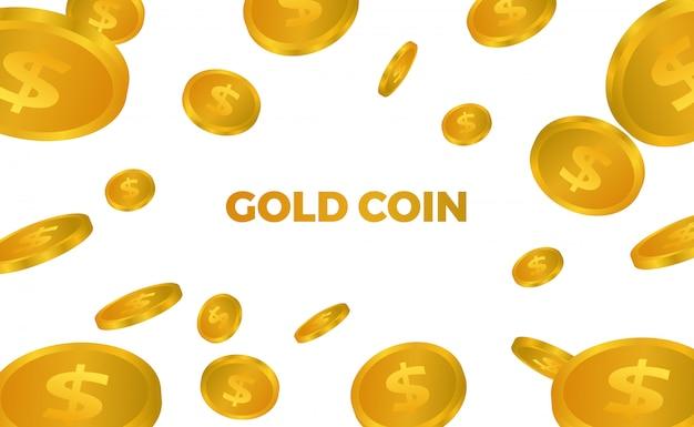 Illustrazione di caduta di molte gocce dorate dei soldi 3d