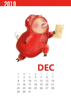 Illustrazione di calendari di maiale divertente per il dicembre 2019