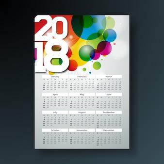 Illustrazione di calendario 2018 modello con numero bianco su sfondo colorato astratto