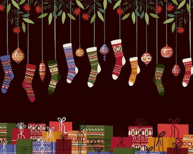 Illustrazione di calze e sfere di buon natale