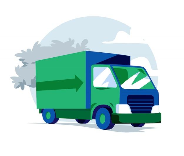 Illustrazione di camion verde e blu