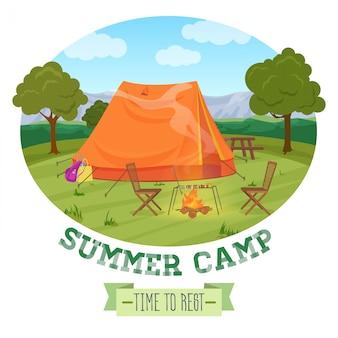 Illustrazione di campeggio della foresta di estate in montagna, tenda, camino con testo.