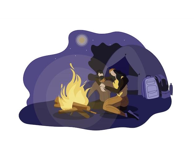 Illustrazione di campeggio di vettore di notte delle giovani coppie