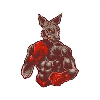 Illustrazione di canguro forte indossare guantoni da boxe