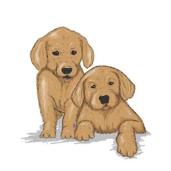 Illustrazione di cani svegli