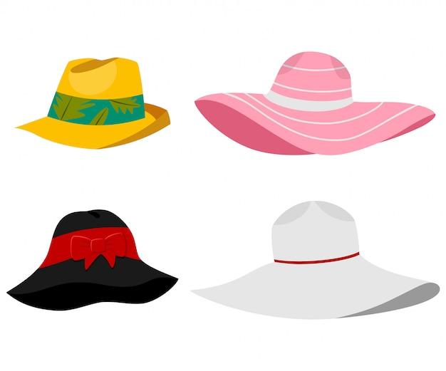 Illustrazione di cappelli spiaggia estate. insieme piano del fumetto di vettore dei copricapi maschii e femminili isolati