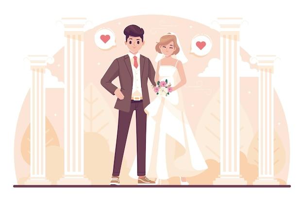 Illustrazione di carattere carino sposi