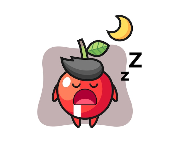 Illustrazione di carattere ciliegia che dorme di notte, stile carino design