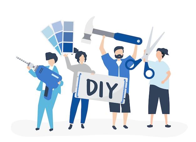 Illustrazione di carattere del concetto di miglioramento domestico di diy