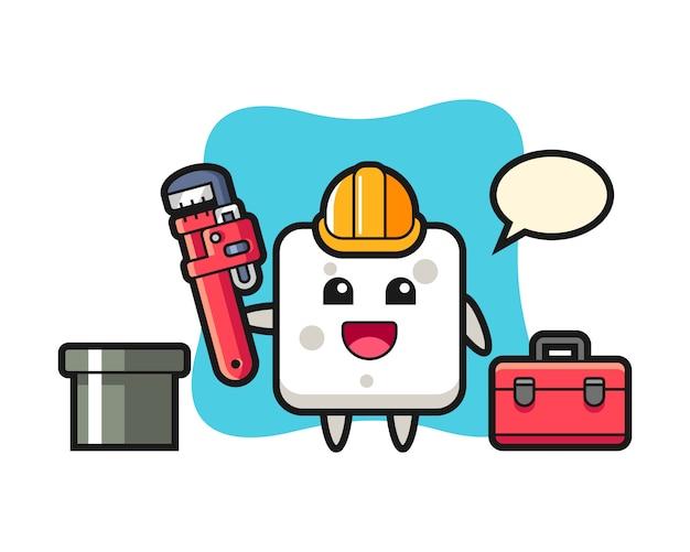 Illustrazione di carattere del cubo di zucchero come idraulico, stile carino per t-shirt, adesivo, elemento logo