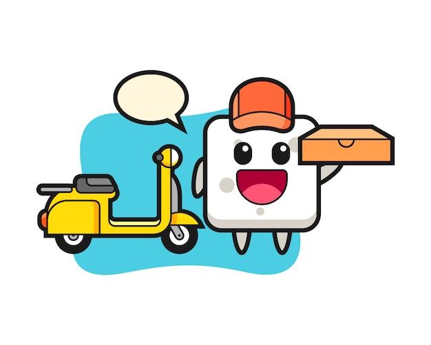 Illustrazione di carattere del cubo di zucchero come un fattorino di pizza, stile carino per t-shirt, adesivo, elemento logo