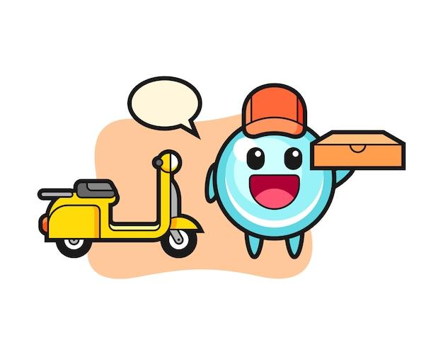 Illustrazione di carattere della bolla come un fattorino di pizza, design in stile carino
