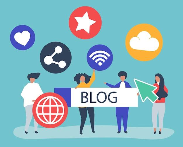 Illustrazione di carattere della gente che tiene icone di blogging