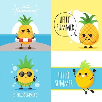 Illustrazione di carattere di ananas