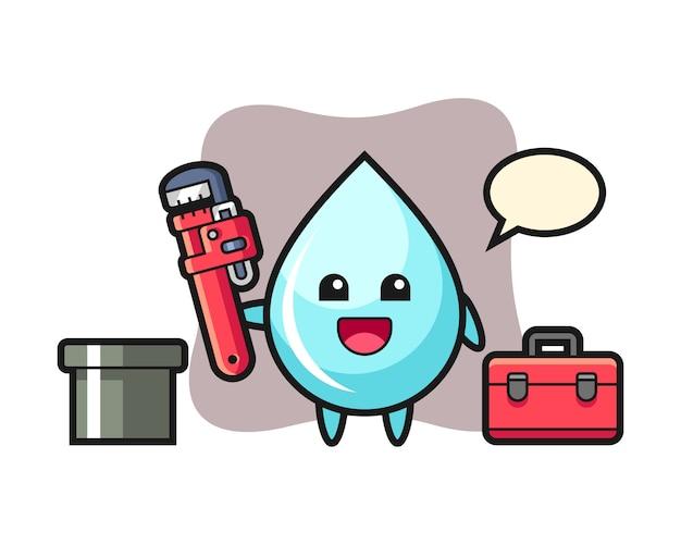 Illustrazione di carattere di goccia d'acqua come idraulico, design in stile carino per t-shirt