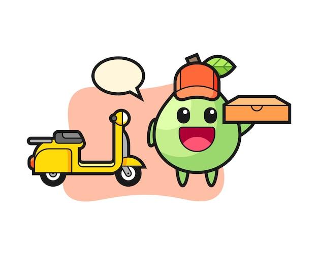 Illustrazione di carattere di guava come fattorino di pizza, design in stile carino per t-shirt, adesivo, elemento logo