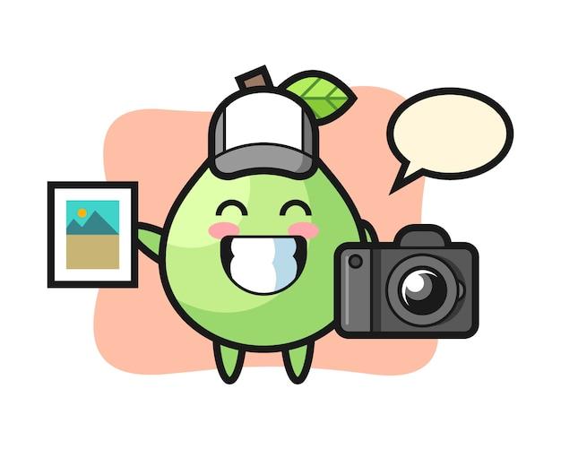 Illustrazione di carattere di guava come fotografo, design in stile carino per t-shirt, adesivo, elemento logo