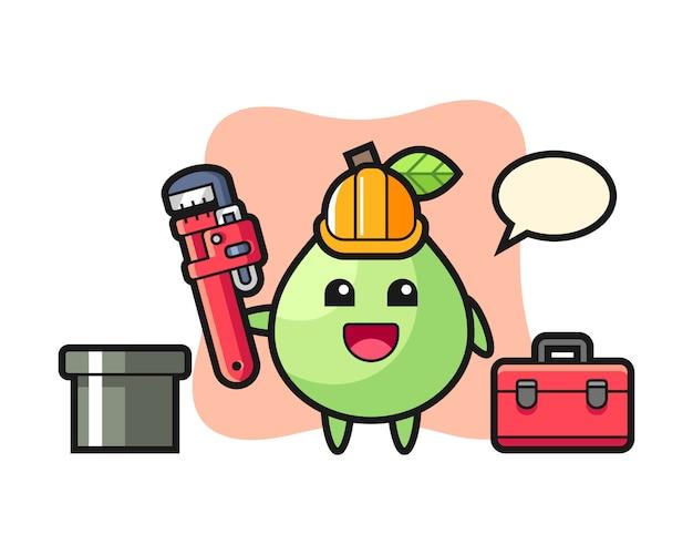Illustrazione di carattere di guava come idraulico, design in stile carino per t-shirt, adesivo, elemento logo