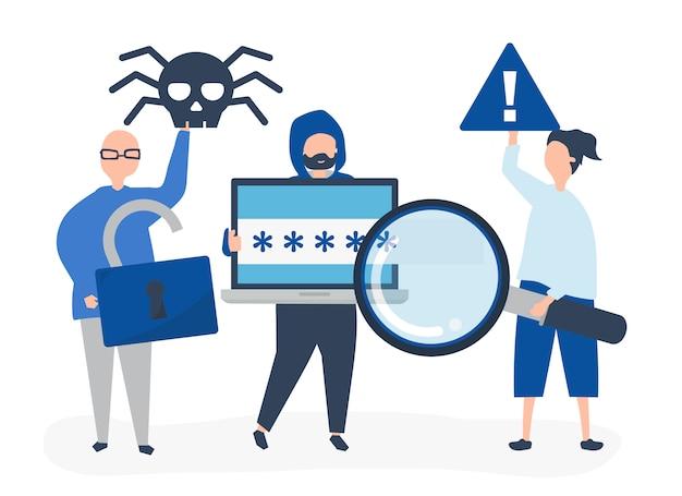 Illustrazione di carattere di persone con icone di crimine informatico
